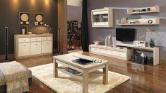 obývací pokoj Axel II thuje / dub latte / lesk jasmín Decoration, Corner Desk, Flat Screen, Entryway, Furniture, Home Decor, Latte, Tiny House Interiors, Living Room
