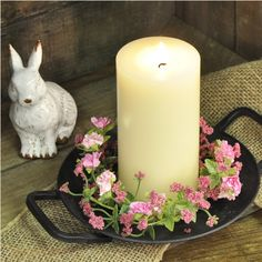 """This candle ring has a profusion of realistic pink flowers and yellow buds; approx. 8"""" diameter with a 3"""" center. #country #decor #artificial #spring #flowers"""