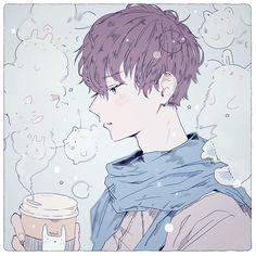 anime, kawaii, boy, drink, pastel, soft, light, fluffy, clouds, bunny, rabbits, cats, cute, blue image