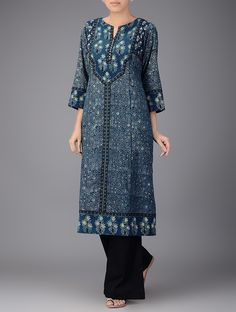 Buy Indigo Block printed Boat Neck Cotton Kurta Women Kurtas Online at…