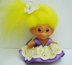 "Vintage Uneeda Wishnik Troll Doll ""Little Miss Sunshine"" Bright Yellow Hair Cute Dress"