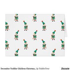 December Toddler Children Christmas Elves Pattern Card