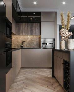 Modern Kitchen Interiors, Luxury Kitchen Design, Kitchen Room Design, Modern Kitchen Cabinets, Contemporary Kitchen Design, Kitchen Cabinet Design, Home Decor Kitchen, Interior Design Kitchen, Kitchen Under Cabinet Lighting