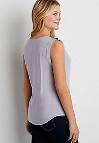 the perfect lightweight blouse with cuffed sleeves and button tabs - alternate image