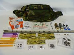 Ready Cacher Kit For Geocaching-- Mini First Aid Kit, Insect Repellent Towelettes, 10pk night tacks, tweezers, super glue, duct tape, rare earth magnets, ink pens, pencils, clear zip bags of various sizes, replacement logs, bison tube, silica gel packs (I would include wet wipes, CITO bags, rubber gloves, and a knife or mult-tool)