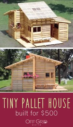 Tiny pallet house built for 500 Tiny Cabins, Tiny House Cabin, Tiny House Plans, Tiny House Design, Pallet House Plans, Pallet Shed, Pallet Play Houses, Pallet Sandbox, Building A Tiny House