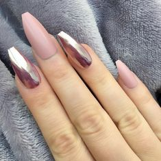 60 Most Lovely And Eye-catching Mirror Metallic Nails Ideas For Prom - Page 41 of 61 - Coco Night Sexy Nails, Hot Nails, Trendy Nails, Coffin Nails, Acrylic Nails, Hot Nail Designs, Mirror Nails, Nail Tattoo, Metallic Nails