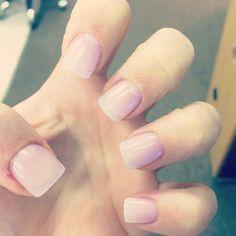 Natural look. Clear acrylic nails