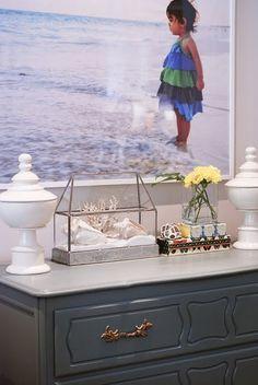 Martha Stewart's Schoolhouse Slate paint on the dresser and brass drawer pulls