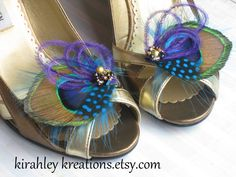 Peacock Wedding Shoe Clips w/ Accenting Teal and Purple Feathers, Beaded Cluster in Golds & Iridescent Purples