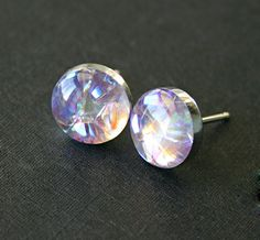 Sterling Silver, Light Rose AB Swarovski Crystals and Resin Stud Earrings