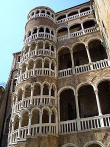 External spiral staircase at the Palazzo Contarini del Bovolo in Venice, Italy