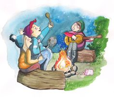 Singing by the Camp Fire! from Two Mums illustrated by Sophie Keen #singing #camping #campfire #family #kids #mums #mothersday #ideas #book #childrensbook #illustration #kidlit #kidlitart #kidlitartist #kidsbooks #booksforkids #raiseareader #sharestories #books #read #teaching #resources #learning #teacher #art #illustrator #sophiekeen