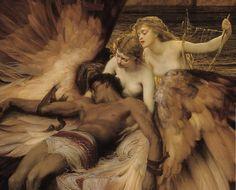 "sempiternele: "" ""Herbert James Draper, 'Lament for Icarus', (Detail) "" "" angels"