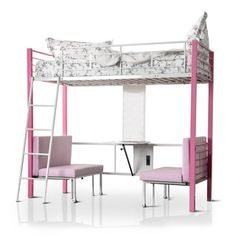 Shop for Furniture of America Kari Contemporary Pink/White Loft Bed with Workstation. Get free delivery at Overstock.com - Your Online Furniture Outlet Store! Get 5% in rewards with Club O!