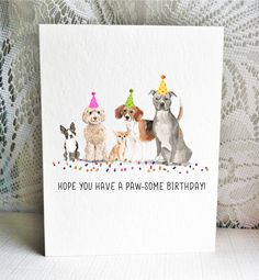 Doggy cards for dog lovers! These party pups will bring smiles to the people in your life who love dogs. Whether it's friends or family, a fantastic vet or pet sitter, celebrate their birthday with a posse of puppers.
