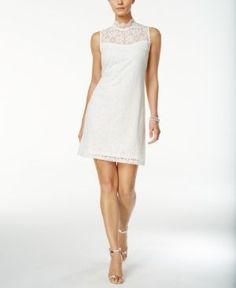 Ronni Nicole Lace Mock-Neck Sheath Dress - White 10