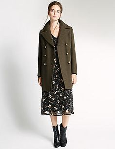 SHOP A/W Mix the feminity of a floral midi dress with a great military style coat. Navy Wool Coat, Military Style Coats, Floral Midi Dress, Military Fashion, Skirt Outfits, Modest Fashion, Autumn Winter Fashion, Autumn Style, Coats For Women