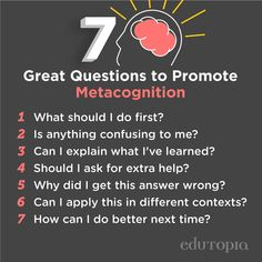 Want to boost your students' metacognition? Have them give these questions a try. Reading Comprehension Skills, Reading Strategies, Thinking Skills, Critical Thinking, Visible Learning, Co Teaching, School Psychology, Cognitive Psychology, Evaluation