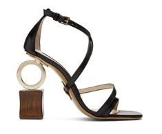 9a353d841719 Jacquemus Black Samba Sandals - Leather sandals in black. Open square toe.  Adjustable pin