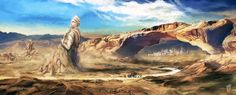The desert path leading to the city of #Asheborne, a monument to a forgotten culture lies ruined along the way. Path to the city by Nerkin on deviantART