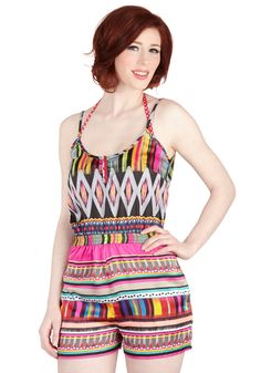 Radiant as the Sun Cover-Up Romper. While your friends dive into the deep end, youre quite content to stay lounging poolside, just so you can wear this colorful cover-up by KAS New York - a ModCloth exclusive! #multi #modcloth