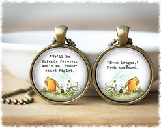 Best Friend Necklaces • Long Distance Friendship Jewelry • Sister Gift • Literary Quote Pendants • Set of 2 by SuedeSentiment on Etsy https://www.etsy.com/listing/216731780/best-friend-necklaces-long-distance