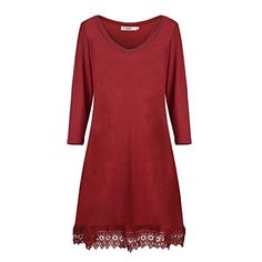 Dreaweet Women's Long Sleeve V-Neck A-line Floral Lace Loose Casual Dress(FBA) * You can find out more details at the link of the image.