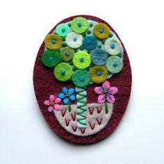 Tree felt brooch with freeform embroidery by designedbyjane, £15.00 Felt Crafts Diy, Felted Wool Crafts, Fabric Crafts, Sewing Crafts, Felt Bookmark, Textiles, Felt Brooch, Wool Art, Felt Tree