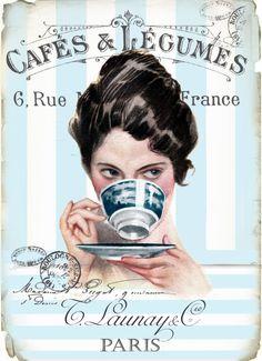 Vintage cafe digital collage p1022 FREE