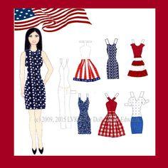 Kim Fourth of July Paper Doll by LVKPaperDolls on Etsy
