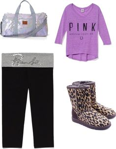 """Victoria Secret outfit. With Bag and UGGS"" by knucklebutt on Polyvore"