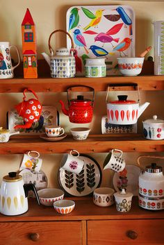 Beautiful collection of enamelware.