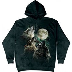 Three Wolves Howling Hoodie Tie Dye Adult Hooded Sweat Shirt Hoody Officially Licensed Available in Small, Medium, Large, XL & Three Wolf Moon, Wolf Howling, My Wardrobe, 3 D, Hoods, Tie Dye, Sweatshirts, Wolves, Black