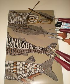 4 color lino reduction plate, a reduction means to cut away as you continue printing the colors. See how this is done : www.youtube.com/watch?v=qowdjgH3OZ4 and follow tips on registration of linocuts at: www.mariann-johansen-ellis.blogspot.com