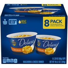 Our Deluxe Mac and Cheese cups are made with real Kraft cheese for a taste your family will love. Just add water and microwave and you have a rich and creamy meail in minutes. It's macaroni and cheese at it's easiest! Kraft Mac N Cheese, Mac And Cheese Cups, Macaroni Cheese, Mac Cheese, Microwave Dinners, Egg Packaging, How To Thicken Sauce, Cooking For Three, Cheesy Sauce