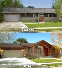 House exterior makeover bungalow new ideas Ranch Exterior, Exterior Remodel, Bungalow Exterior, Exterior Homes, Renovation Facade, Bungalow Renovation, House Renovations, Kitchen Renovations, Bungalow Ideas