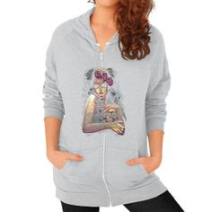 Dama De La Muerte Zip Hoodie (on woman)