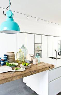 "HK-living hanglamp aqua groen metaal Ø40x45cm, industriële lamp ""Factory"" M - wonenmetlef.nl"