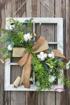 Farmhouse Window Frame with Cotton and greenery, Farmhouse Frame, Farmhouse Decor, Cotton Decor, Rustic Decor Farmhouse Frames, Farmhouse Windows, Farmhouse Wall Decor, Rustic Decor, Modern Farmhouse, Farmhouse Style, Window Frame Crafts, Old Window Projects, Window Frames