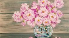 Easy Beginner Acrylic Painting Tutorial Pink Spring Flowers in Glass Vas...