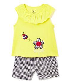Gold Appliqué Yoke Tank & Shorts - Infant, Toddler & Girls