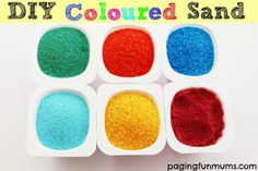 MAKE COLORED SAND  http://pagingfunmums.com/2014/03/07/diy-coloured-sand/  Remember the old sand art that we used to make as kids? You can do that with your kids with this simple 2 ingredient recipe.