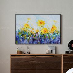Abstract floral framed Painting On Canvas original art flower painting Extra Large blue and yellow palette knife heavy texture Wall Pictures Yellow Painting, Seascape Print, Abstract Painting, Painting, Abstract, Canvas Painting, Original Art, Painting Frames, Abstract Floral Paintings