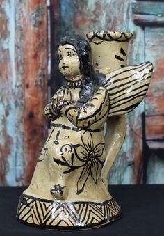 Mexican Folk Art Praying Angel Candle Stick 2 of 2 by OaxacanArts Mexican Artists, Mexican Folk Art, Mexican Crafts, Mexico Art, Religious Icons, Candlesticks, Arts And Crafts, Pottery, Angel