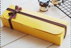 6 x Yellow Rectangular Box, cookie cupcake cake macaroon, Bakery Box, Gift Packaging, DIY Packaging