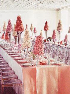 Pink Rose Topiaries, Tiffany Wedding, Martha Stewart
