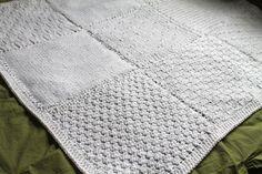 White Knit Squares Blanket