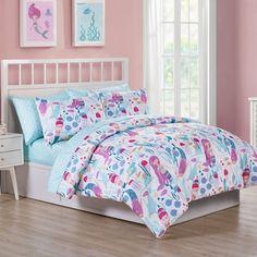 Kids Zone Home Linen 4 Piece Full Size Sheet Set Pink Mermaid for Girls//Teens Mermaids Shells Fishes Turtles.