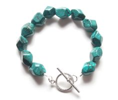 Turquoise Chunk Bracelet with Exceptional Color by StringOfLuck